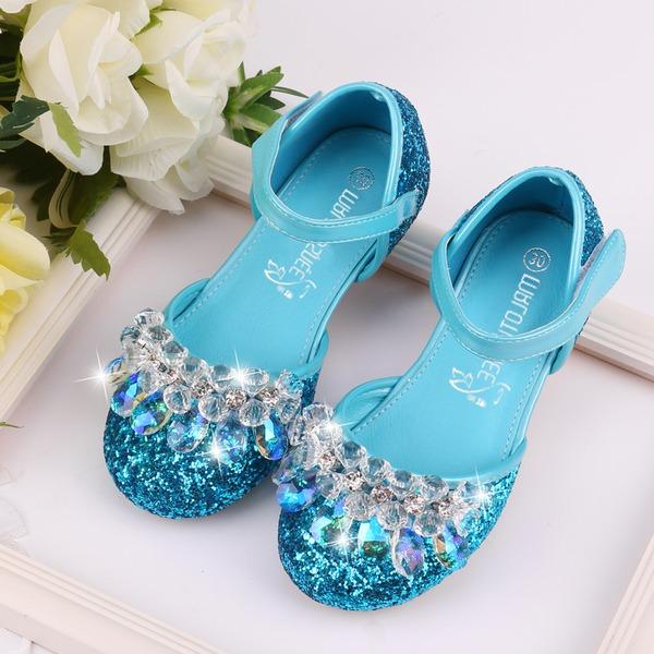 Flicka rund tå Ballett Flat konstläder platt Heel Platta Skor / Fritidsskor Flower Girl Shoes med Strass Glittrande Glitter Kardborre