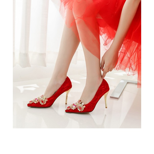 Women's Lace Stiletto Heel Closed Toe Pumps With Imitation Pearl Applique