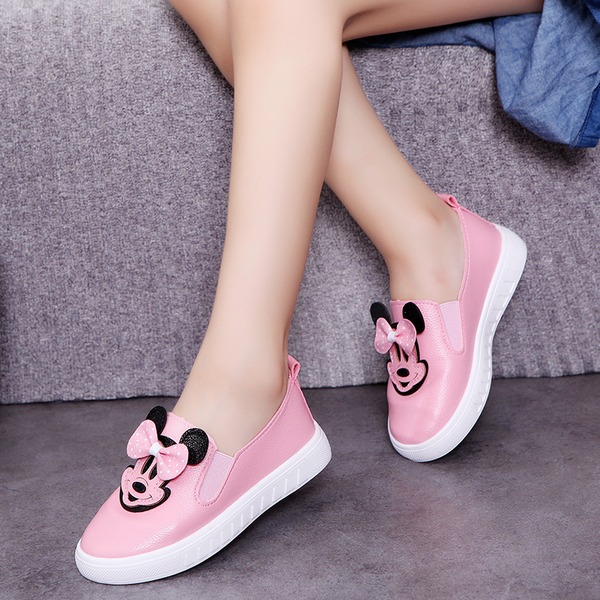 Girl's Leatherette Flat Heel Closed Toe Flats With Bowknot Animal Print