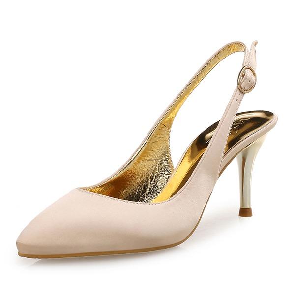 Kvinnor Silke Stilettklack Pumps med Glittrande Glitter skor