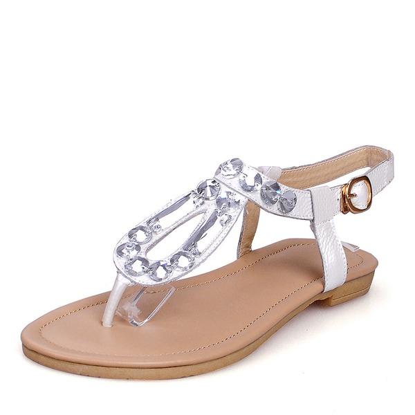Vrouwen Echt leer Flat Heel Sandalen Flats Peep Toe Slingbacks met Gesp schoenen