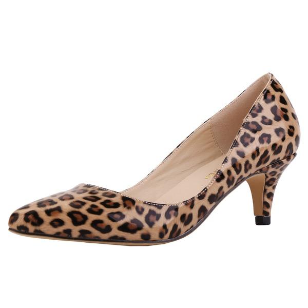 Femmes Similicuir Talon cône Escarpins Bout fermé chaussures