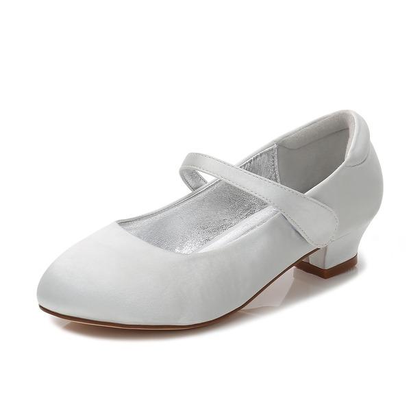 Girl's Round Toe Closed Toe Mary Jane Silk Like Satin Low Heel Flower Girl Shoes With Rhinestone Velcro