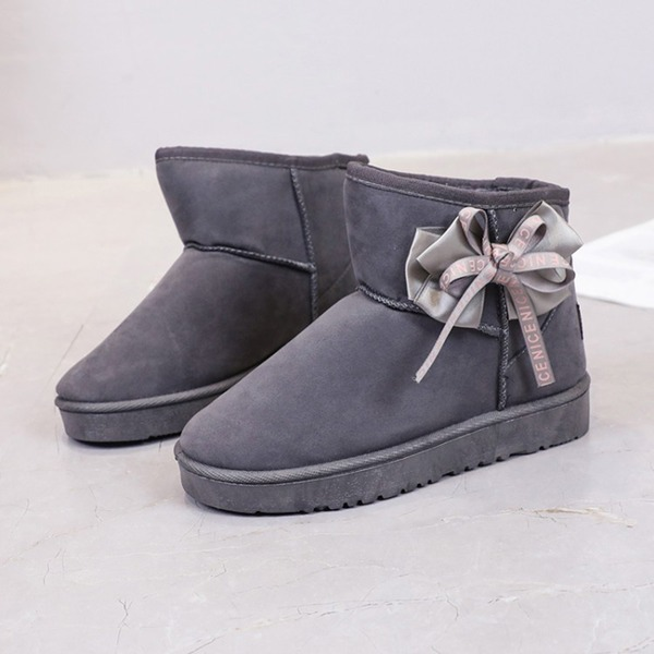 Frauen Veloursleder Flascher Absatz Geschlossene Zehe Stiefel Stiefelette mit Bowknot Schuhe