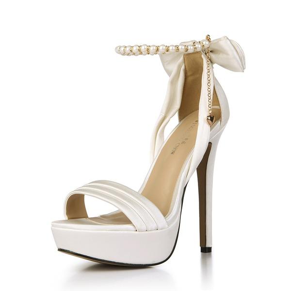 Mulheres Plástico Salto agulha Sandálias Bombas Peep toe com Bowknot sapatos