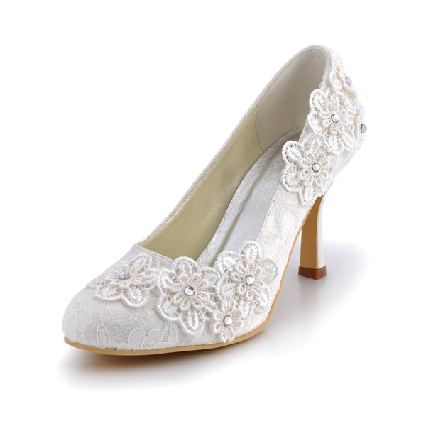 Women's Lace Stiletto Heel Closed Toe Pumps With Rhinestone Flower