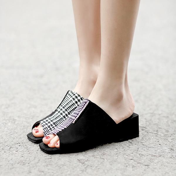 Vrouwen Suede Chunky Heel Sandalen Pumps Peep Toe schoenen