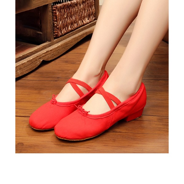 Women's Canvas Heels Ballet Dance Shoes