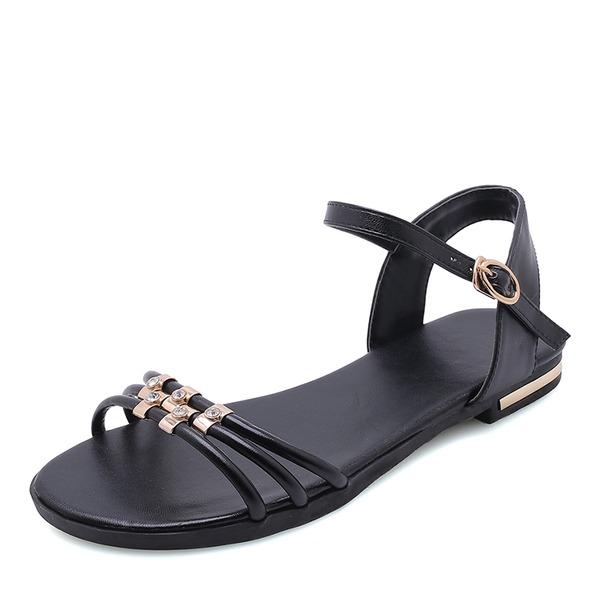 Femmes Vrai cuir Talon plat Sandales Chaussures plates À bout ouvert Escarpins avec Strass Boucle chaussures