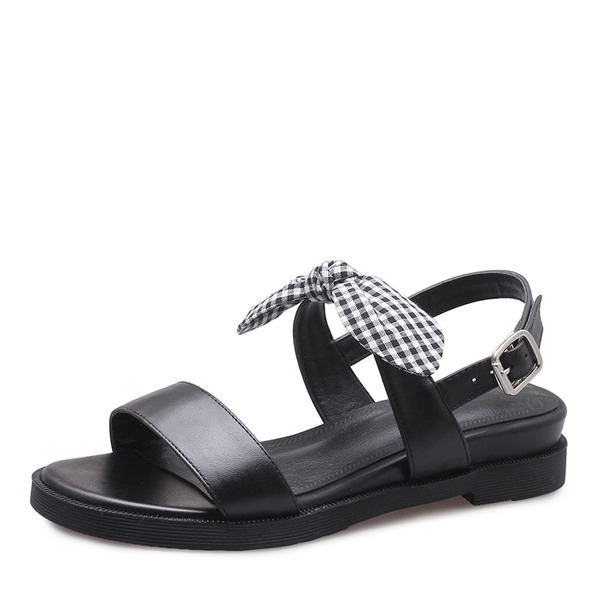 Women's Real Leather Wedge Heel Sandals Flats Peep Toe Slingbacks With Bowknot Buckle shoes