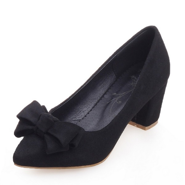 Women's Leatherette Chunky Heel Pumps Closed Toe With Bowknot shoes