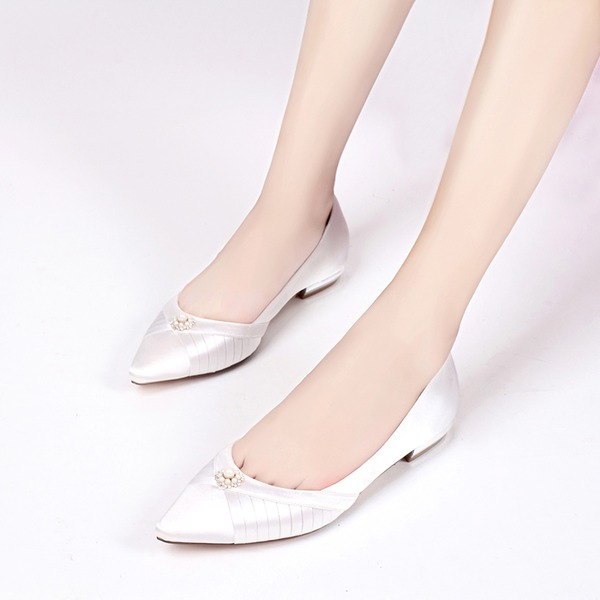 Women's Silk Like Satin Low Heel Closed Toe Flats With Buckle Imitation Pearl Rhinestone