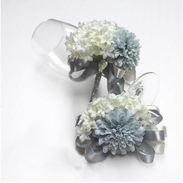 Gorgeous Ribbon/Artificial Silk Flower Sets (set of 2) - Wrist Corsage/Boutonniere
