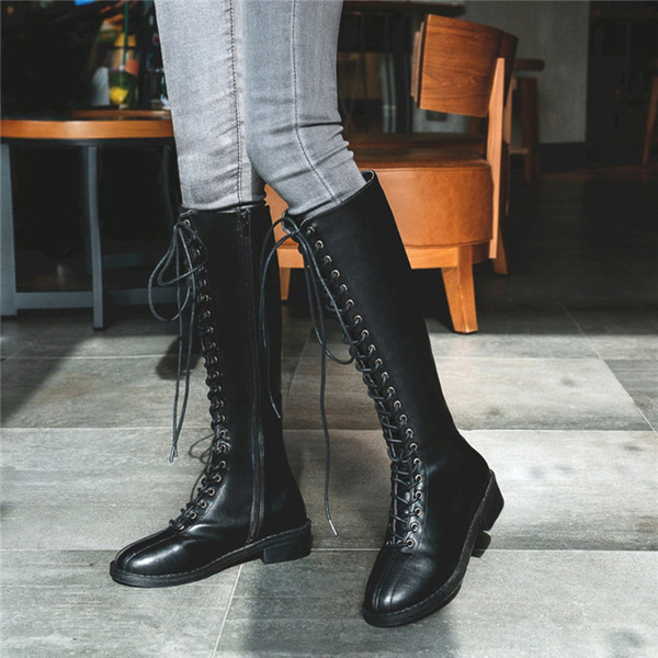 Women's PU Low Heel Mid-Calf Boots With Split Joint shoes