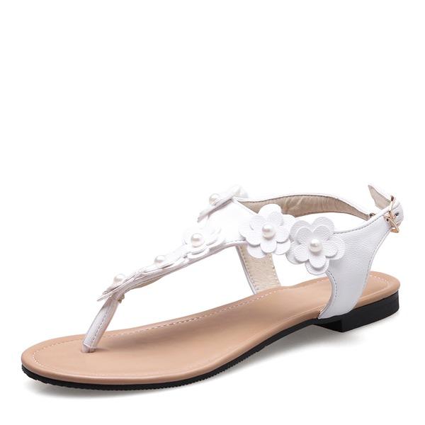 Vrouwen Kunstleer Flat Heel Sandalen Flats Peep Toe Slingbacks met Imitatie Parel Gesp Bloem schoenen