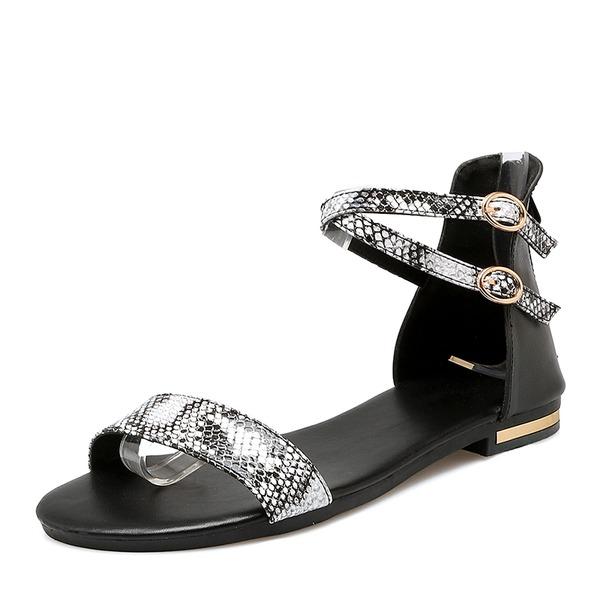 Vrouwen Kunstleer Flat Heel Sandalen Flats met Gesp schoenen
