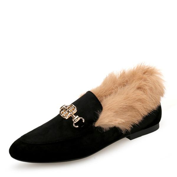Frauen Veloursleder Flascher Absatz Flache Schuhe Geschlossene Zehe mit Schnalle Kunstpelz Schuhe
