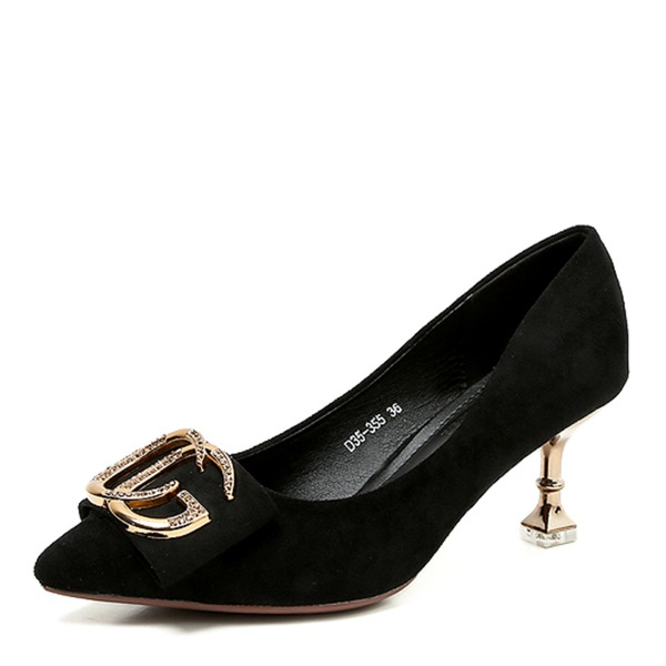 Women's Leatherette Spool Heel Pumps Closed Toe With Buckle shoes