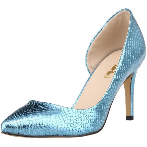 Женщины кожа Высокий тонкий каблук На каблуках Закрытый мыс с Животных печати обувь
