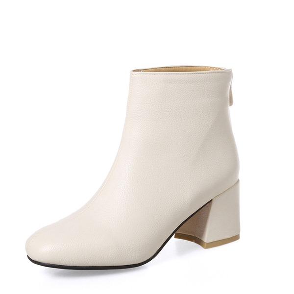 Kvinnor PU Tjockt Häl Pumps Stövlar Boots med Zipper skor
