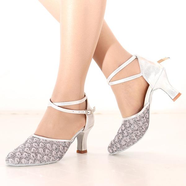 Kadın Köpüklü Glitter Topuk Latin Dans Ayakkabıları