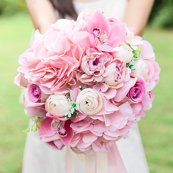 Blooming Round Silk Flower Bridal Bouquets/Bridesmaid Bouquets -