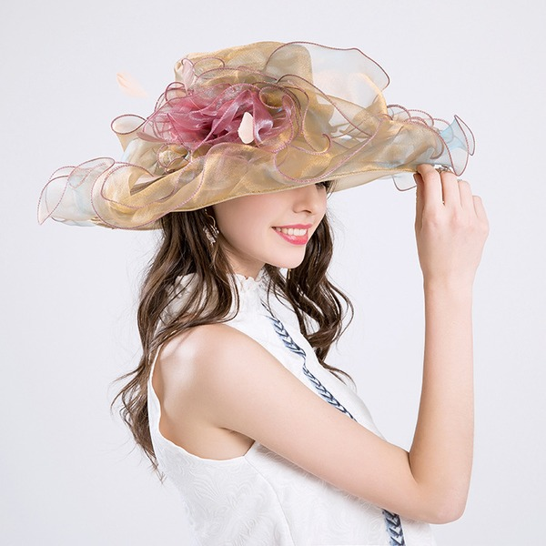 Senhoras Lindo Algodão/Fio rede com Flor de seda De disquetes Chapéu/Kentucky Derby Bonés