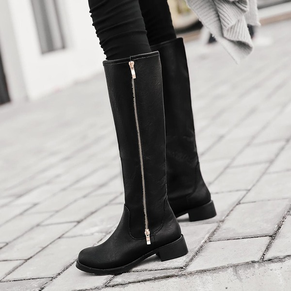 Women's PU Flat Heel Flats Platform Knee High Boots With Zipper shoes