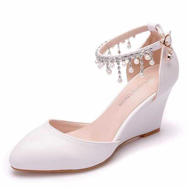 Women's Leatherette Wedge Heel Closed Toe Wedges With Tassel