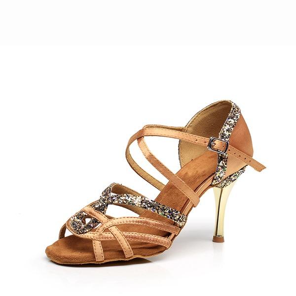 Vrouwen Satijn Sprankelende Glitter Hakken Sandalen Latijn Dansschoenen