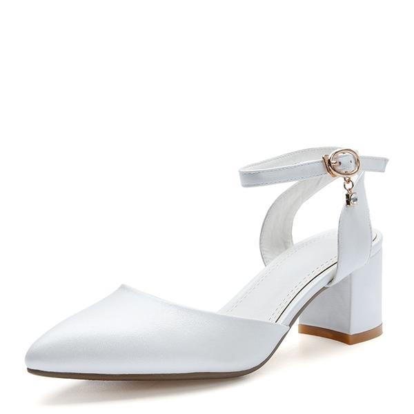 De mujer Cuero Tacón ancho Sandalias Salón Cerrados Mary Jane con Hebilla Cordones zapatos
