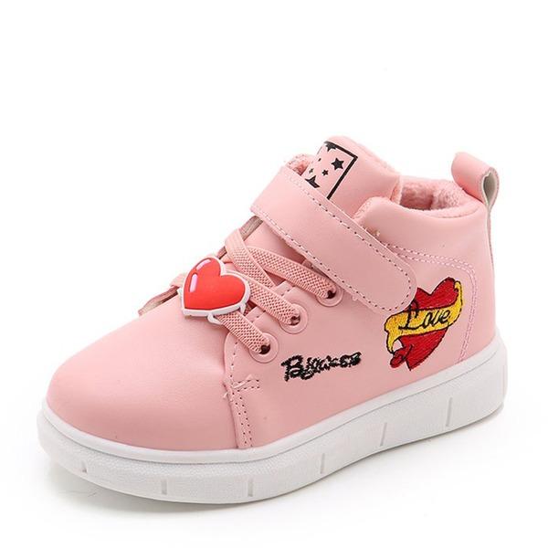 Fille de Bout fermé similicuir talon plat Chaussures plates Sneakers & Athletic avec Velcro Dentelle