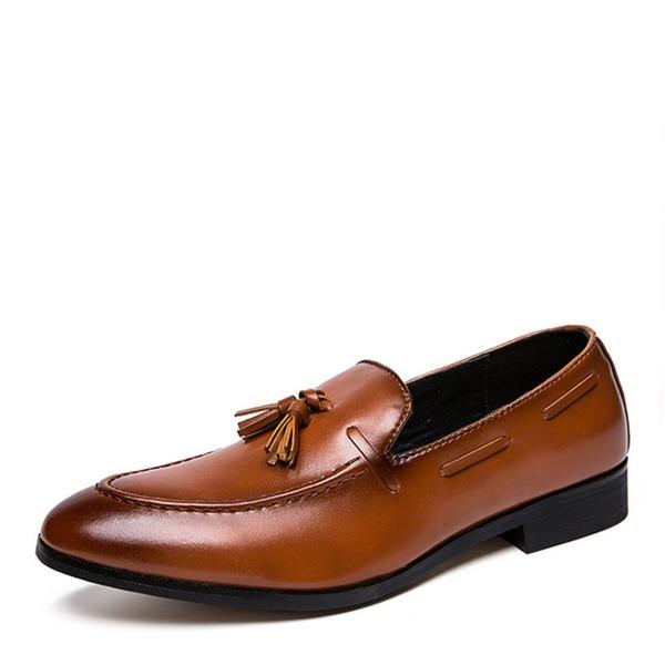 Menn Lær Tassel Loafer Avslappet Pen sko Loafers til herre