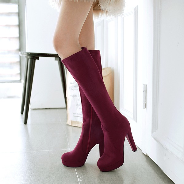 Women's Suede Chunky Heel Pumps Platform Boots Knee High Boots With Zipper shoes