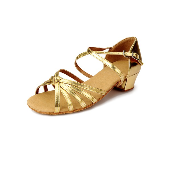 Детская обувь кожа На каблуках Сандалии Латино с Ремешок на щиколотке Обувь для танцев