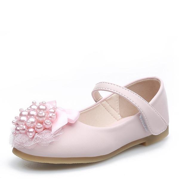 Jentas Round Toe Lukket Tå Leather flat Heel Flower Girl Shoes med Profilering Bowknot Velcro Blomst