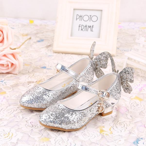 Girl's Closed Toe imitatieleer low Heel Pumps Bloemenmeisje schoenen met strik Sprankelende Glitter Velcro