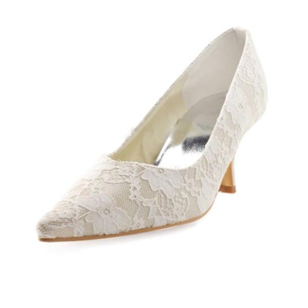 Vrouwen Kant Satijn Spool Hak Closed Toe Pumps met Stitching Lace