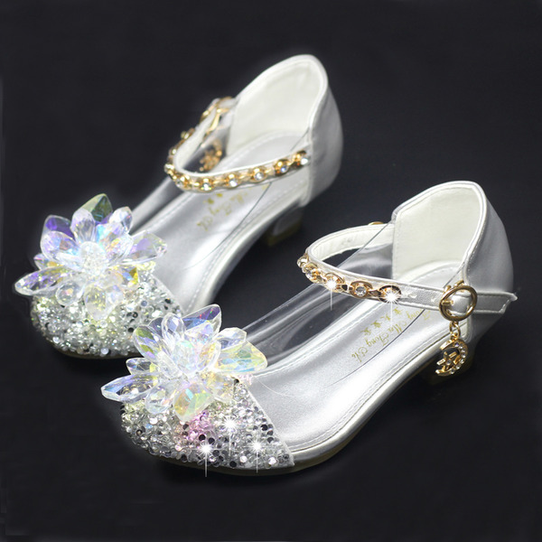 Girl's Round Toe Sparkling Glitter Flower Girl Shoes With Crystal