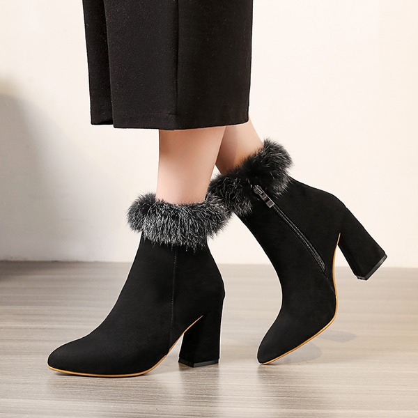 Women's Suede Chunky Heel Pumps Boots Ankle Boots With Zipper Fur shoes