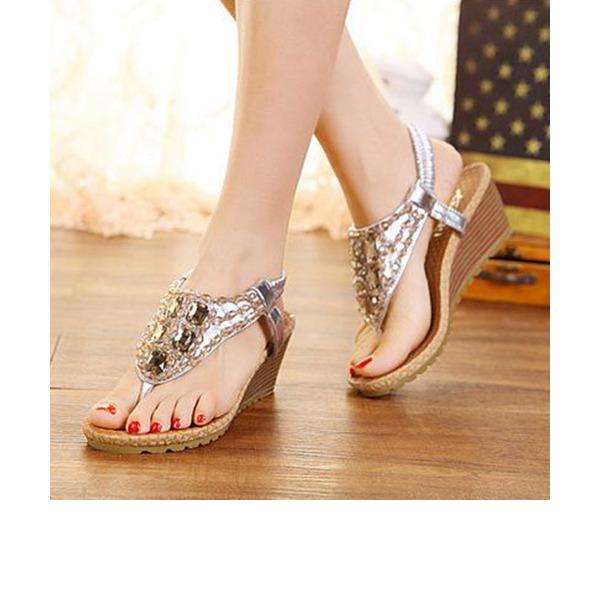 Frauen PU Keil Absatz Sandalen Keile mit Strass Gummiband Schuhe