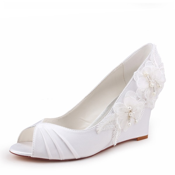 Women's Silk Like Satin Stiletto Heel Peep Toe Wedges With Stitching Lace Ruffles Flower Crystal