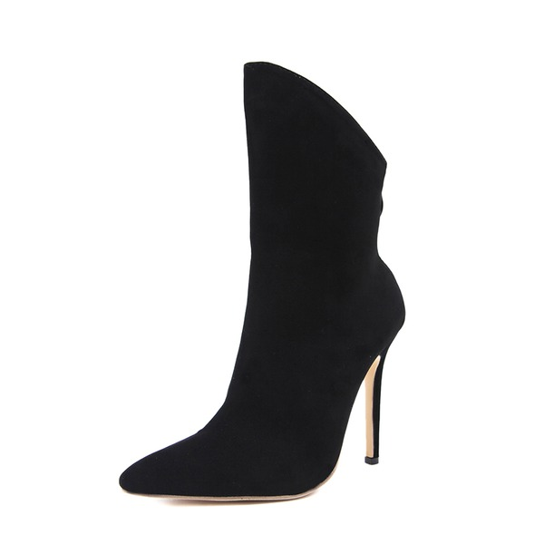 Donna Camoscio Tacco a spillo Stiletto Stivali Stivali altezza media con Cerniera scarpe