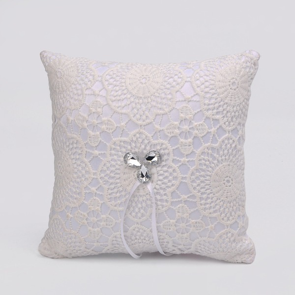 Elegant Ring Pillow in Cloth With Ribbons/Rhinestones