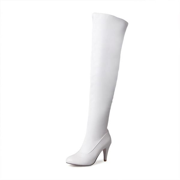 Donna Similpelle Tacco a spillo Stiletto Punta chiusa Stivali Stivali sopra il ginocchio con Cerniera scarpe