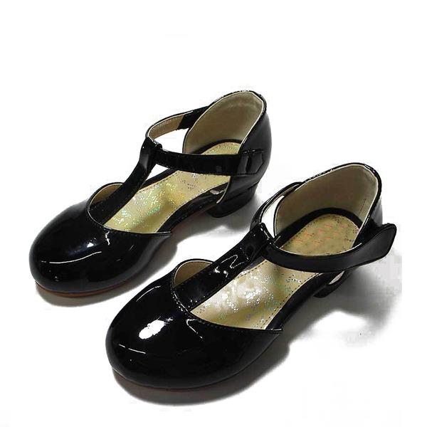 Fille de similicuir talon plat bout rond Chaussures plates avec Velcro