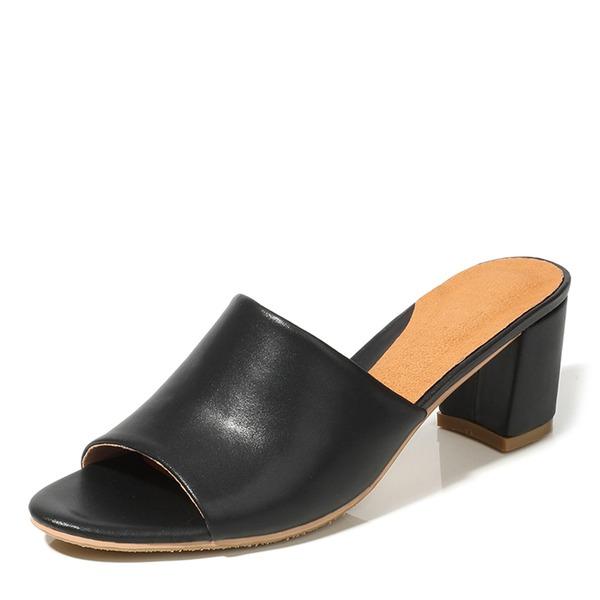 Женщины PU Устойчивый каблук Открытый мыс Тапочки обувь