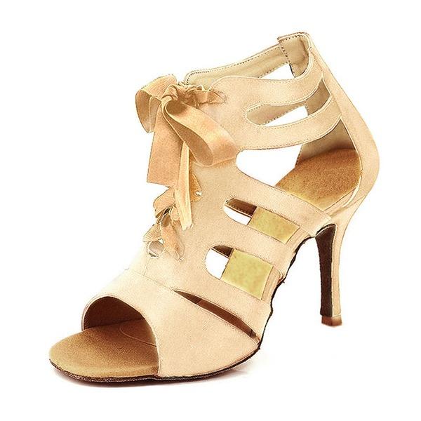 Dámské Satén Na podpatku Sandály Lodičky Latinské S Šněrovací Taneční boty