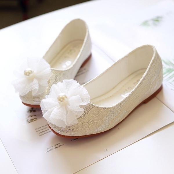 A menina de Toe rodada Fechados imitação de couro Heel plana Sem salto Sapatas do florista com Flor