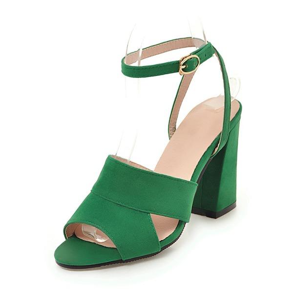 Mulheres Camurça Salto robusto Sandálias Bombas Peep toe Sapatos abertos com Outros sapatos